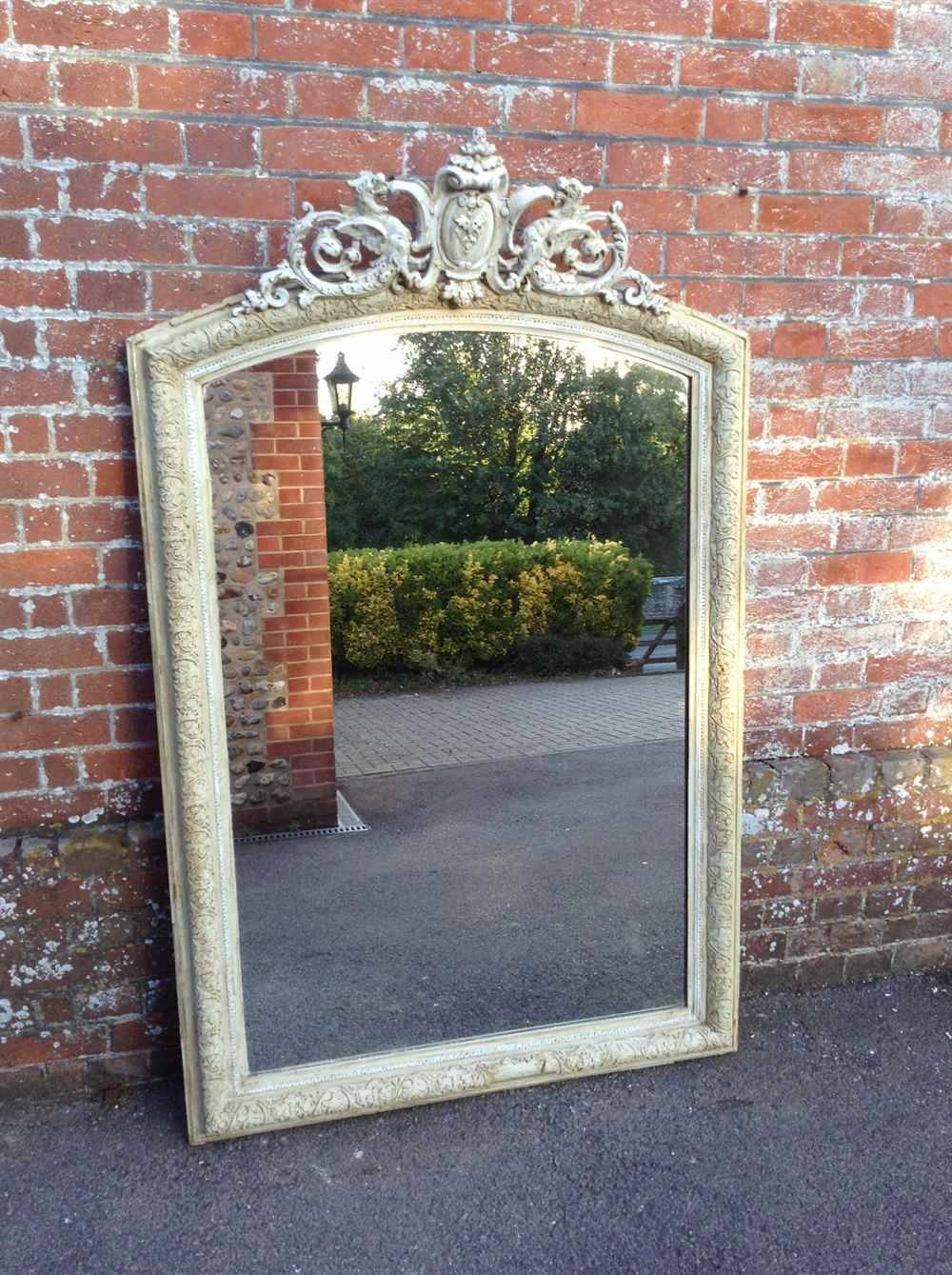 A Very Useful Size Large Antique 19Th Century French Painted intended for Very Large Ornate Mirrors (Image 4 of 25)
