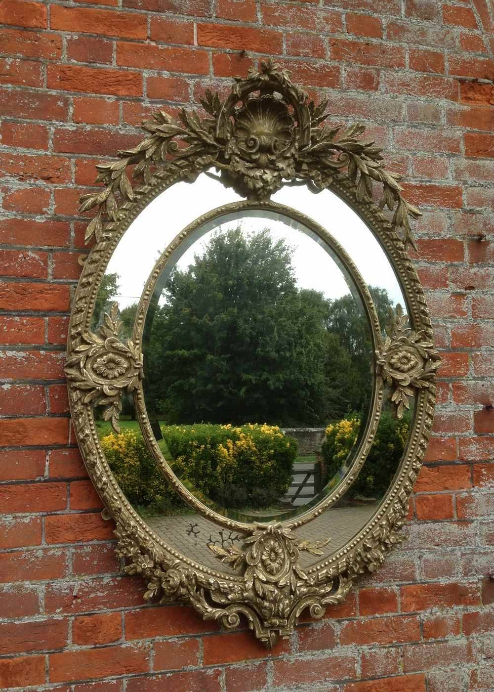 A Wonderful Large Antique 19Th Century French Carved Wood Oval for French Mirrors (Image 7 of 25)
