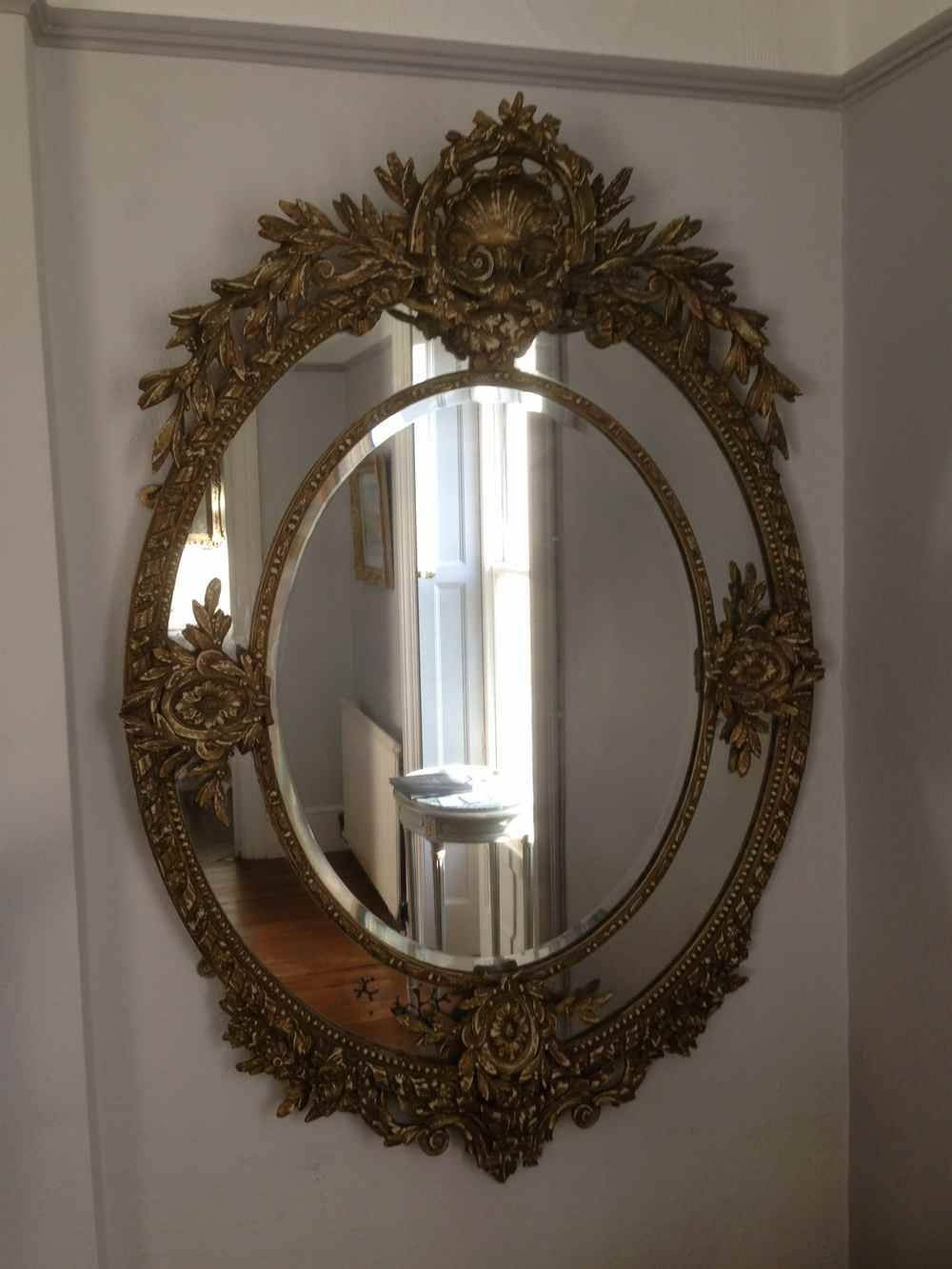 A Wonderful Large Antique 19Th Century French Carved Wood Oval for French Mirrors (Image 6 of 25)