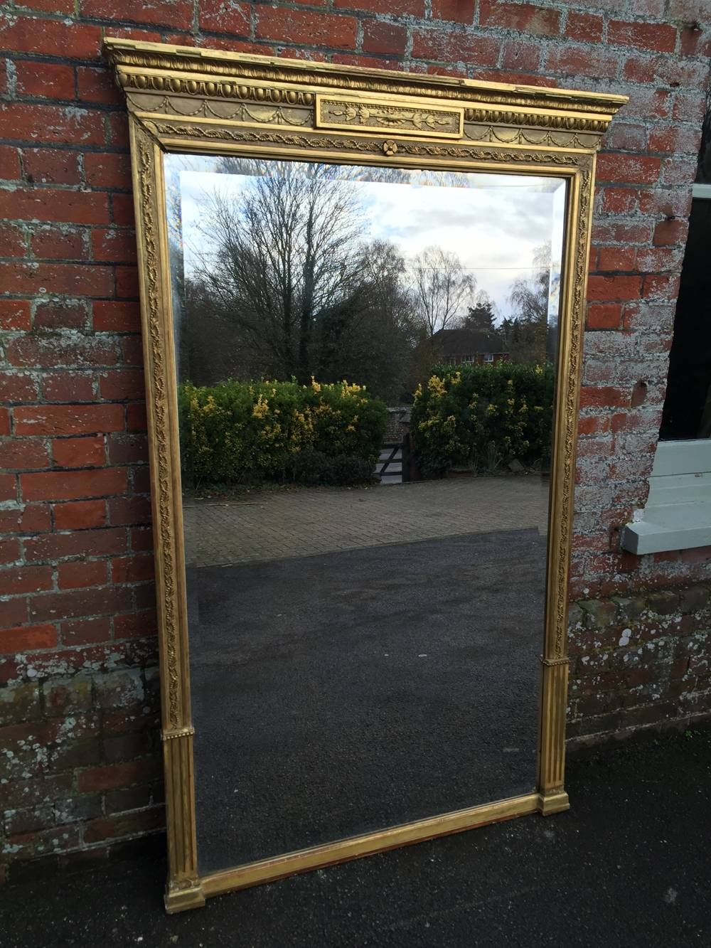 A Wonderful Large Antique 19Th Century French Original Carved Wood With Regard To Antique Large Mirrors (View 5 of 25)