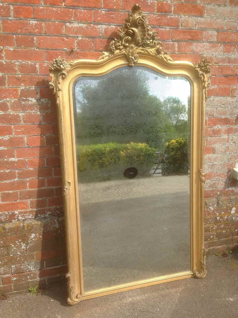 A Wonderful Large Antique 19Th Century French Original Carved Wood within Antique Gilt Mirrors (Image 7 of 25)