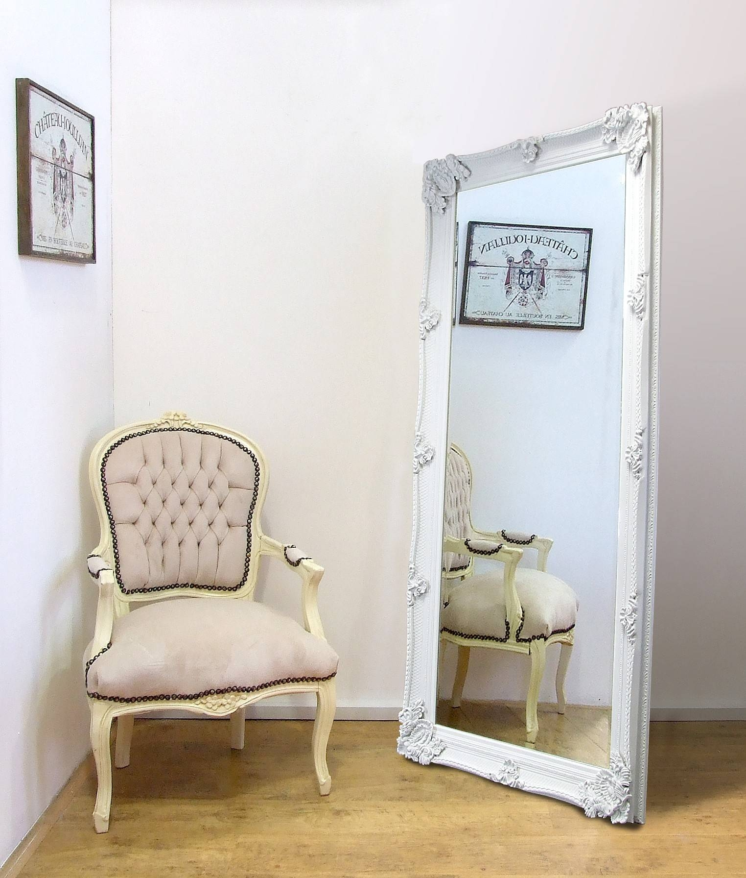 Abbey Large Full Length Shabby Chic Vintage Leaner Mirror White 32 regarding Shabby Chic Full Length Mirrors (Image 2 of 25)