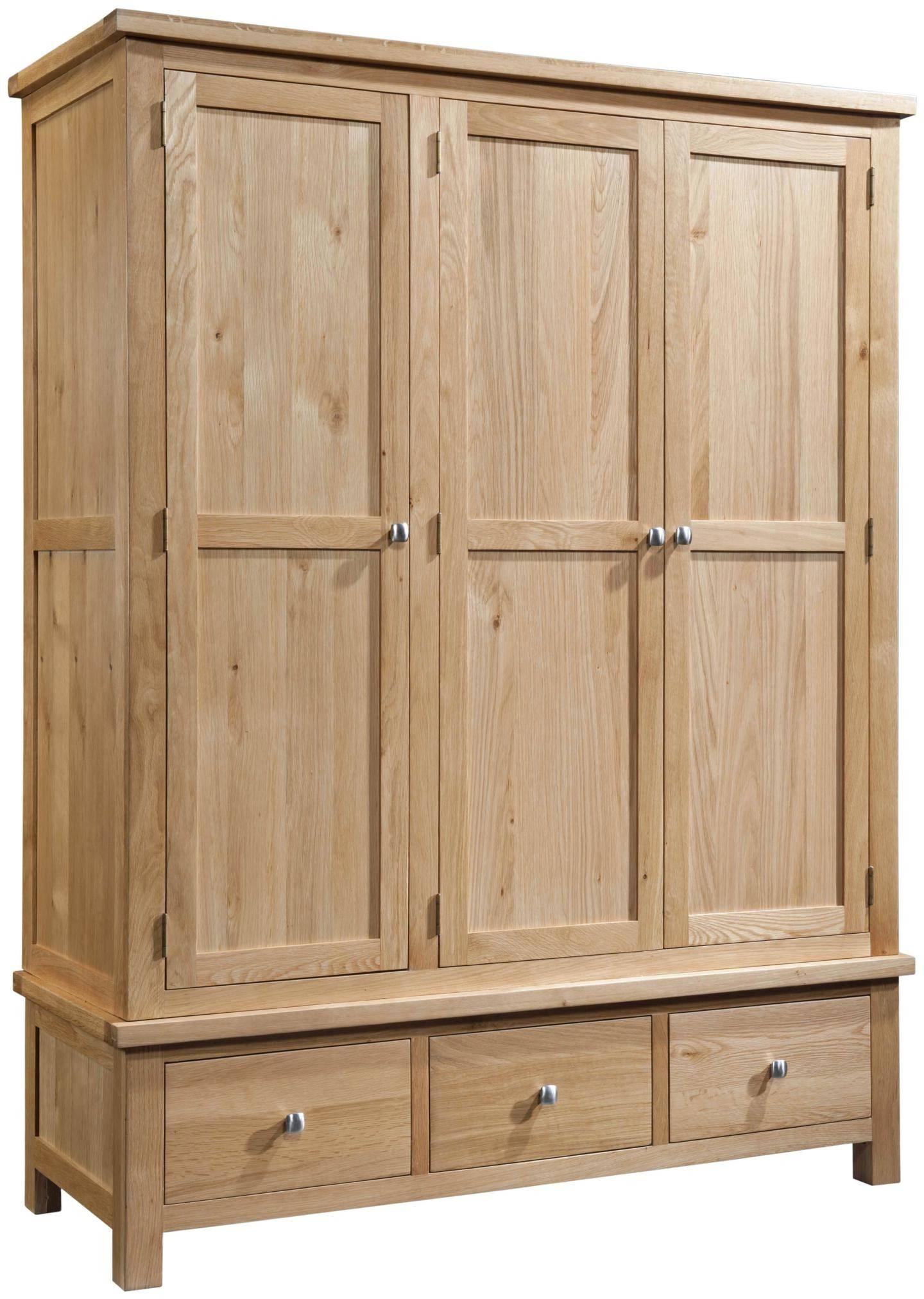 Abbey Oak Triple Wardrobe With 3 Drawers regarding Triple Wardrobes With Drawers (Image 1 of 15)