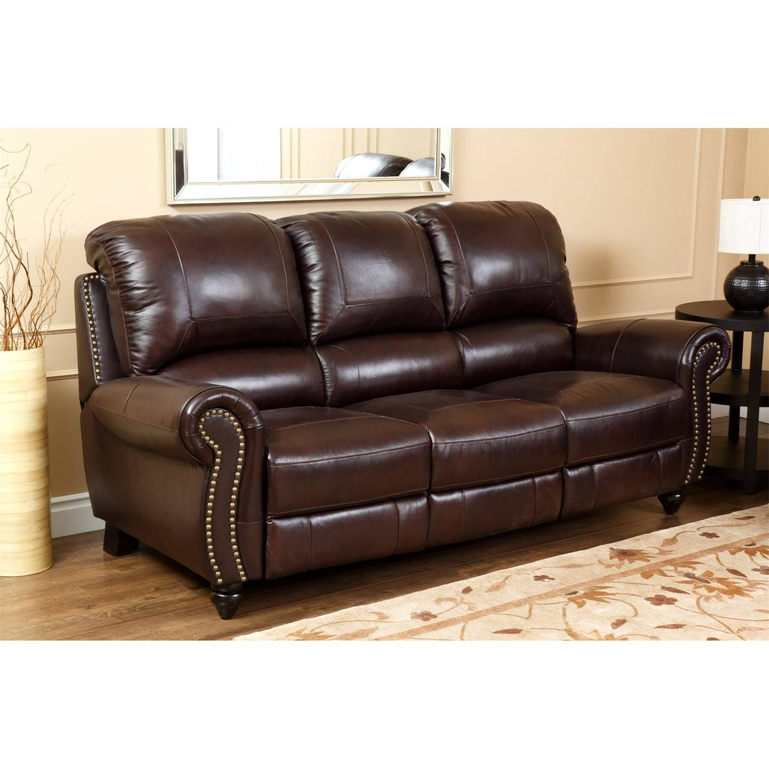 Abbyson Living Ch-8857-Brg-3/1 Canterbury Leather Pushback within Canterbury Leather Sofas (Image 4 of 30)