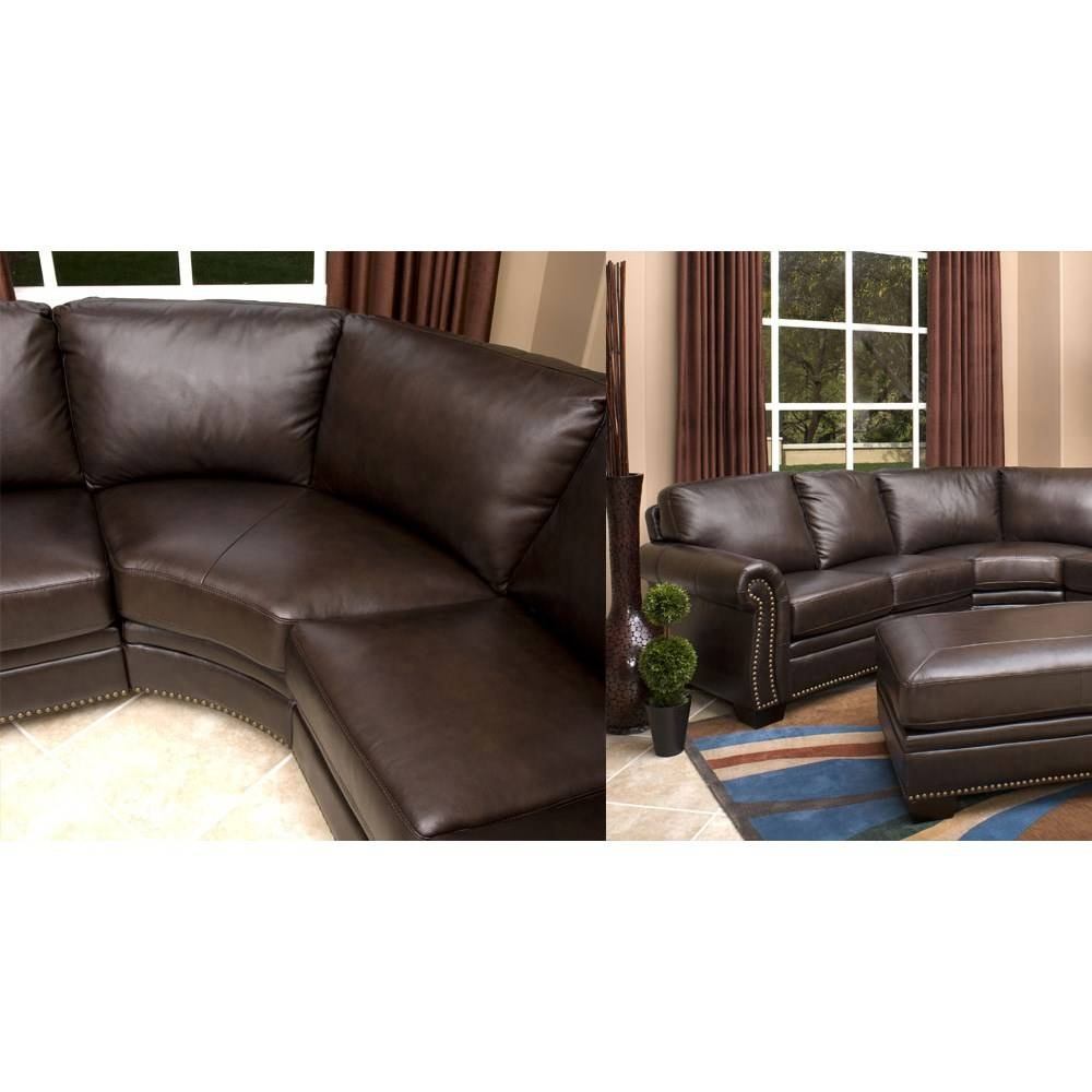 Abbyson Living Ci-N410-Brn Oxford Italian Leather Sectional Sofa pertaining to Abbyson Sectional Sofa (Image 4 of 30)