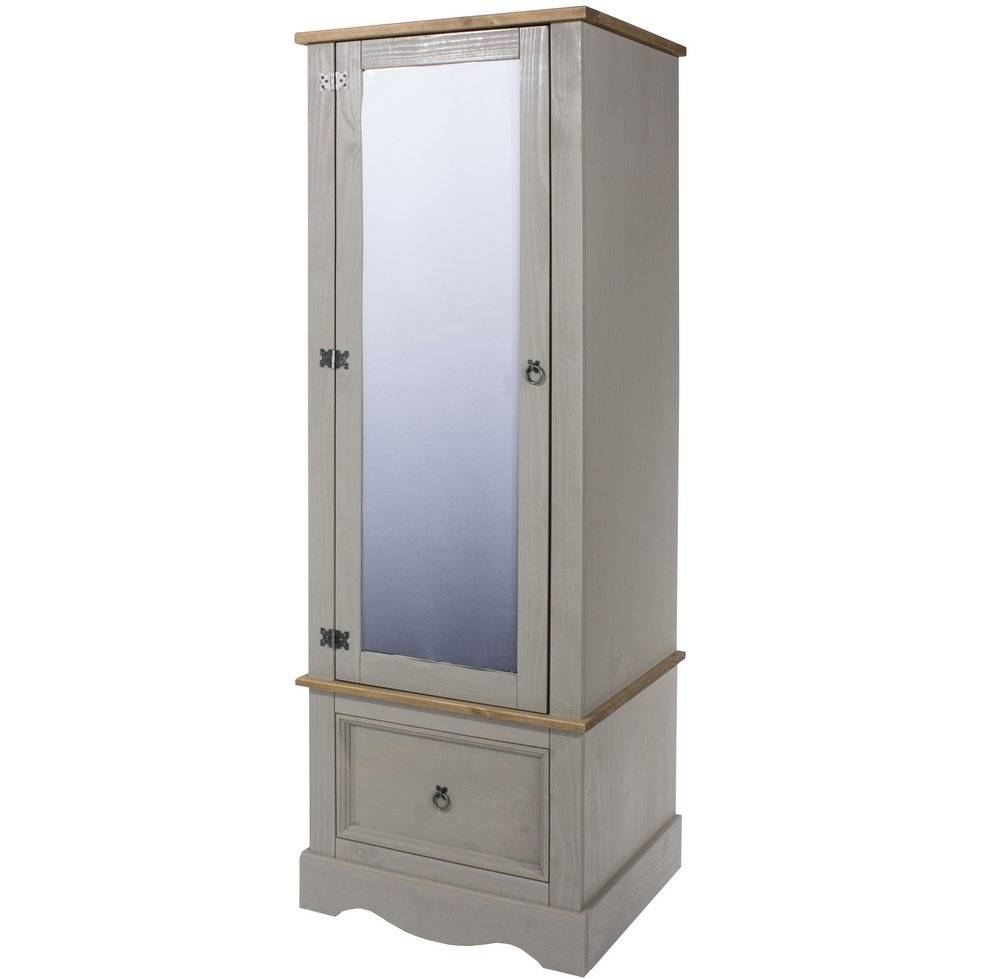 Abdabs Furniture – Corona Grey Washed Single Wardrobe With With Regard To Single Wardrobes With Mirror (View 1 of 15)