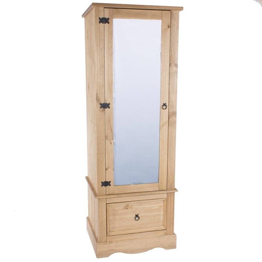 Abdabs Furniture - Corona Pine Single Wardrobe With Mirrored Door inside Single Pine Wardrobes (Image 2 of 15)