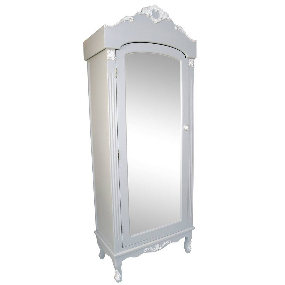 Abdabs Furniture – French Grey Single Armoire With Mirrored Door For Single French Wardrobes (View 1 of 15)
