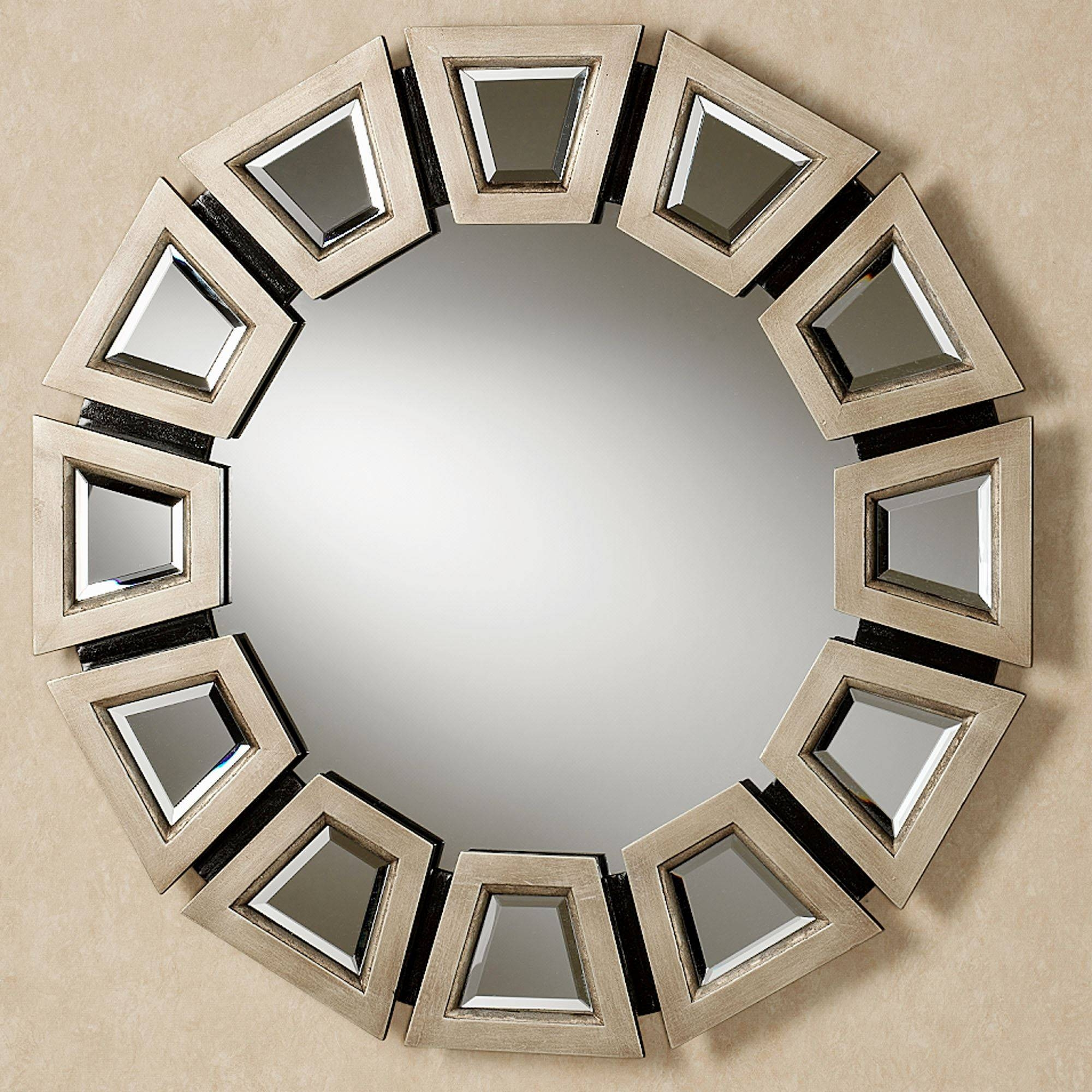 Abstract Twilight Round Wall Mirror in Gold Round Mirrors (Image 2 of 25)