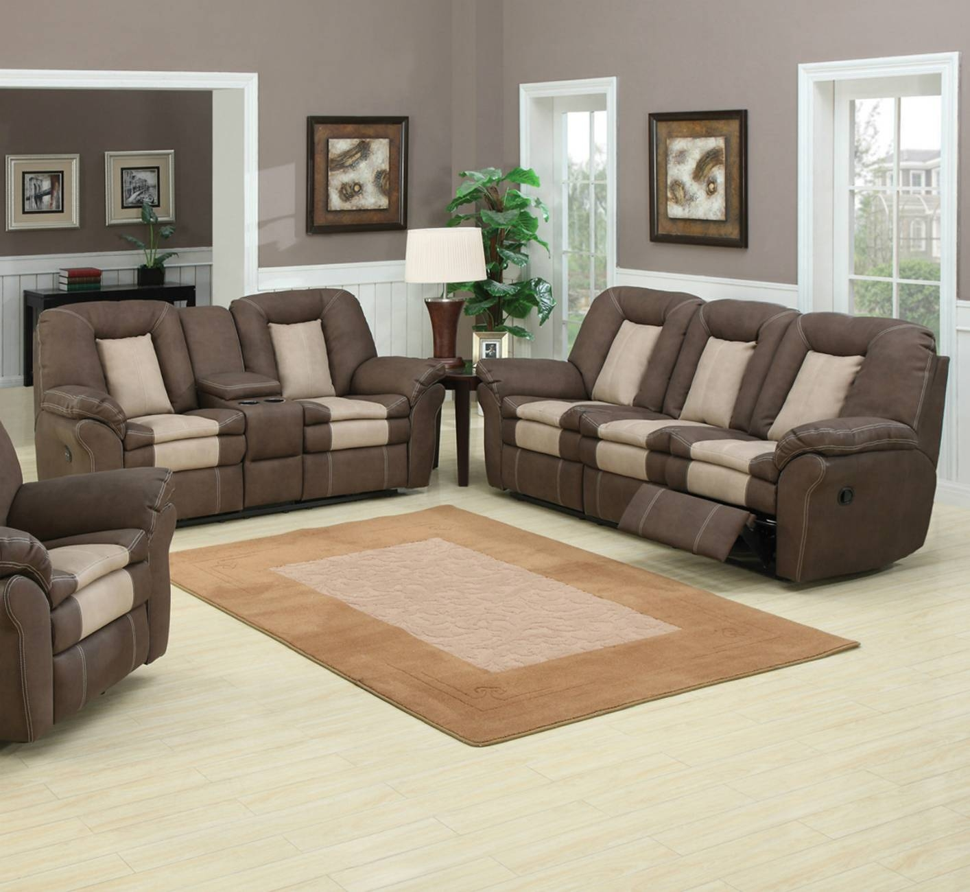 Ac Pacific Carson 117 Brown Leather Sofa And Loveseat Set In Los intended for Sofa Loveseat and Chairs (Image 1 of 30)