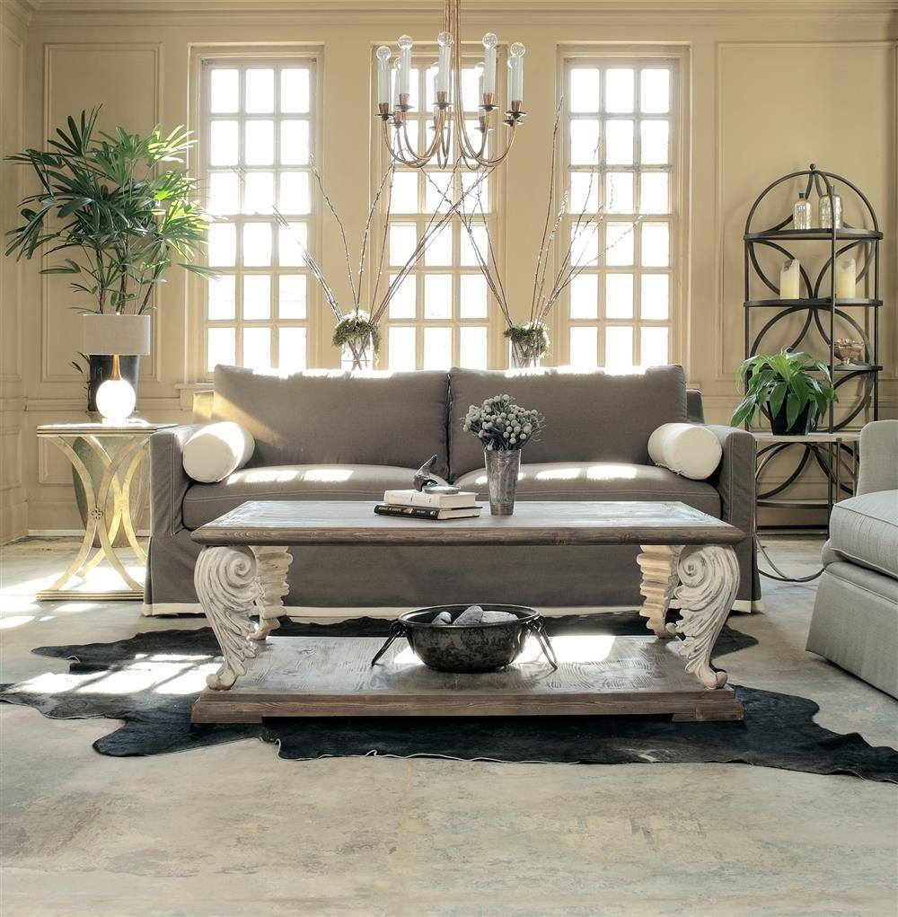 Acanto French Country Acanthus Leaf Reclaimed Wood Coffee Table in French Country Coffee Tables (Image 1 of 30)