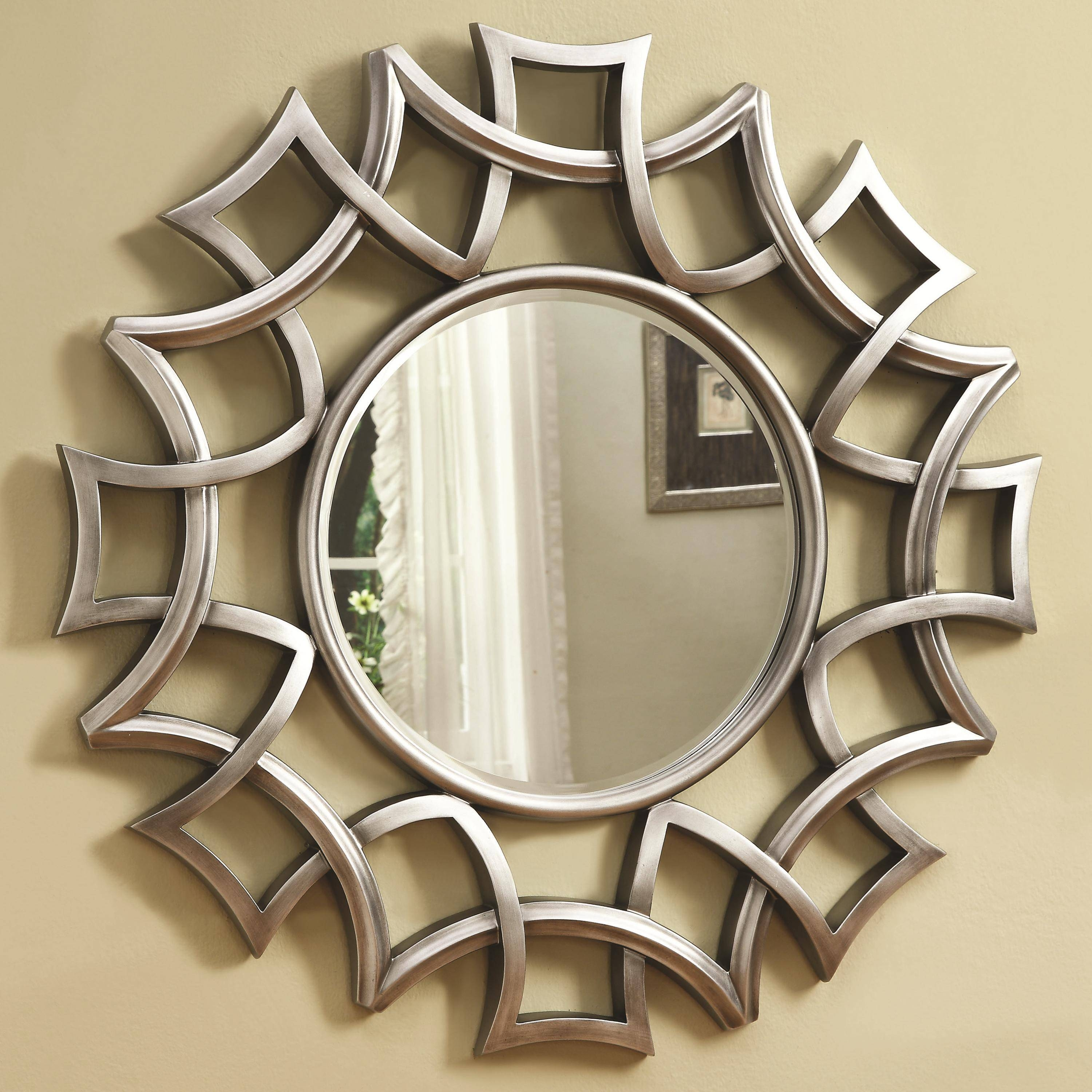 Accent Mirror, Ashley Signature Design Accent Mirrors Lucia within Ornate Round Mirrors (Image 6 of 25)
