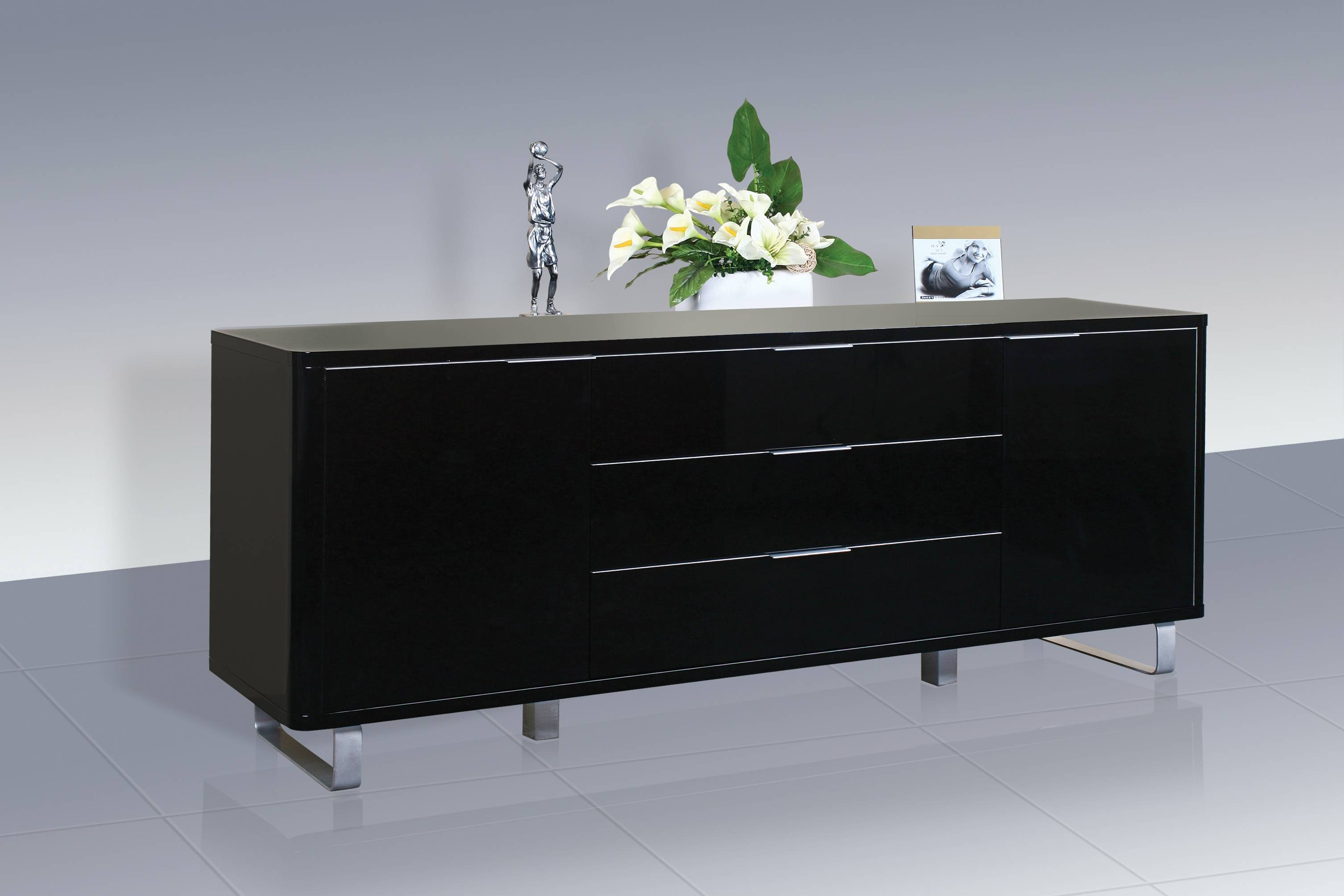 Accent Sideboard - High Gloss Black - Lpd Furniture with High Gloss Black Sideboards (Image 1 of 30)