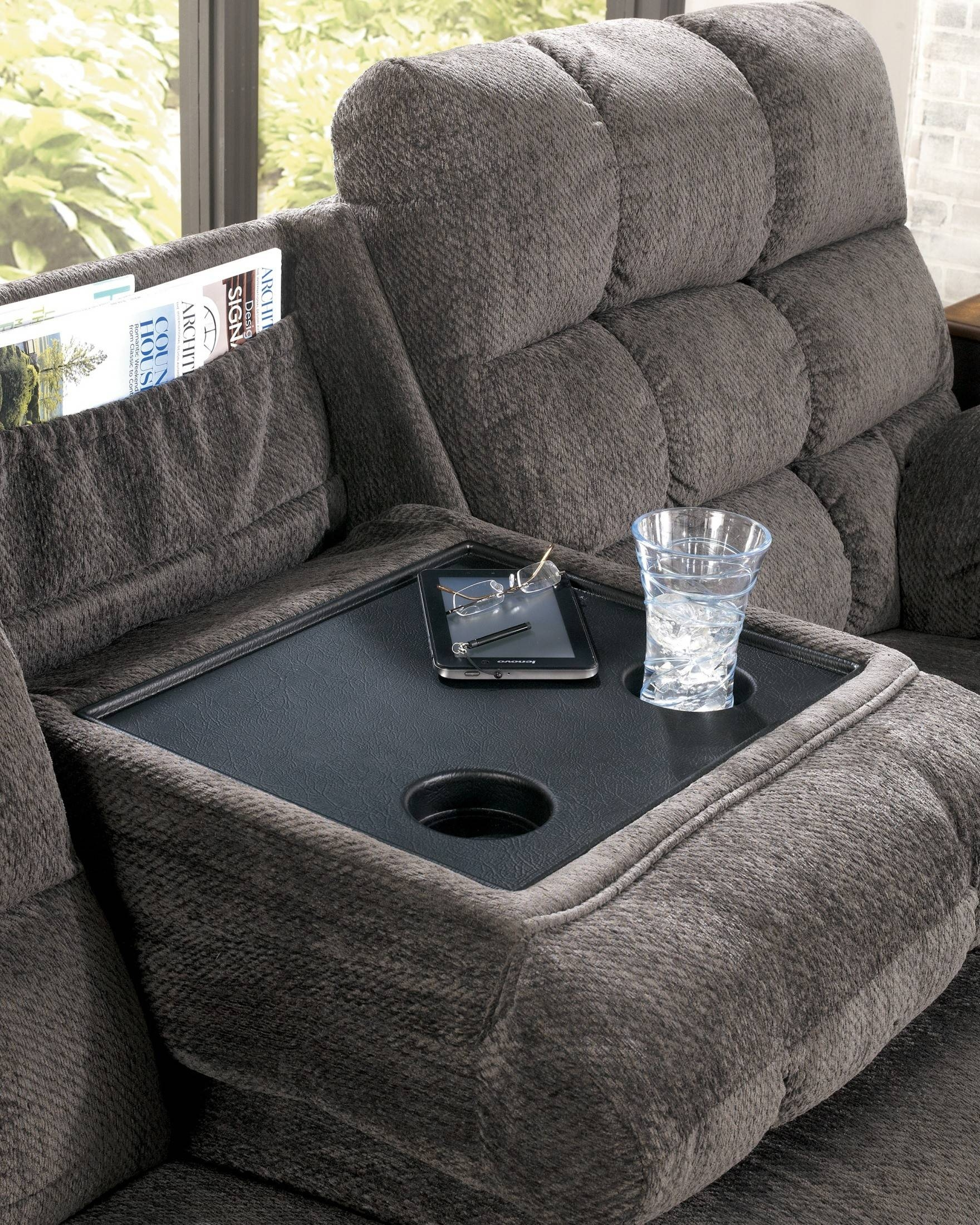 Acieona Slate Reclining Sofa With Drop Down Table From Ashley with Sofa Drink Tables (Image 1 of 30)