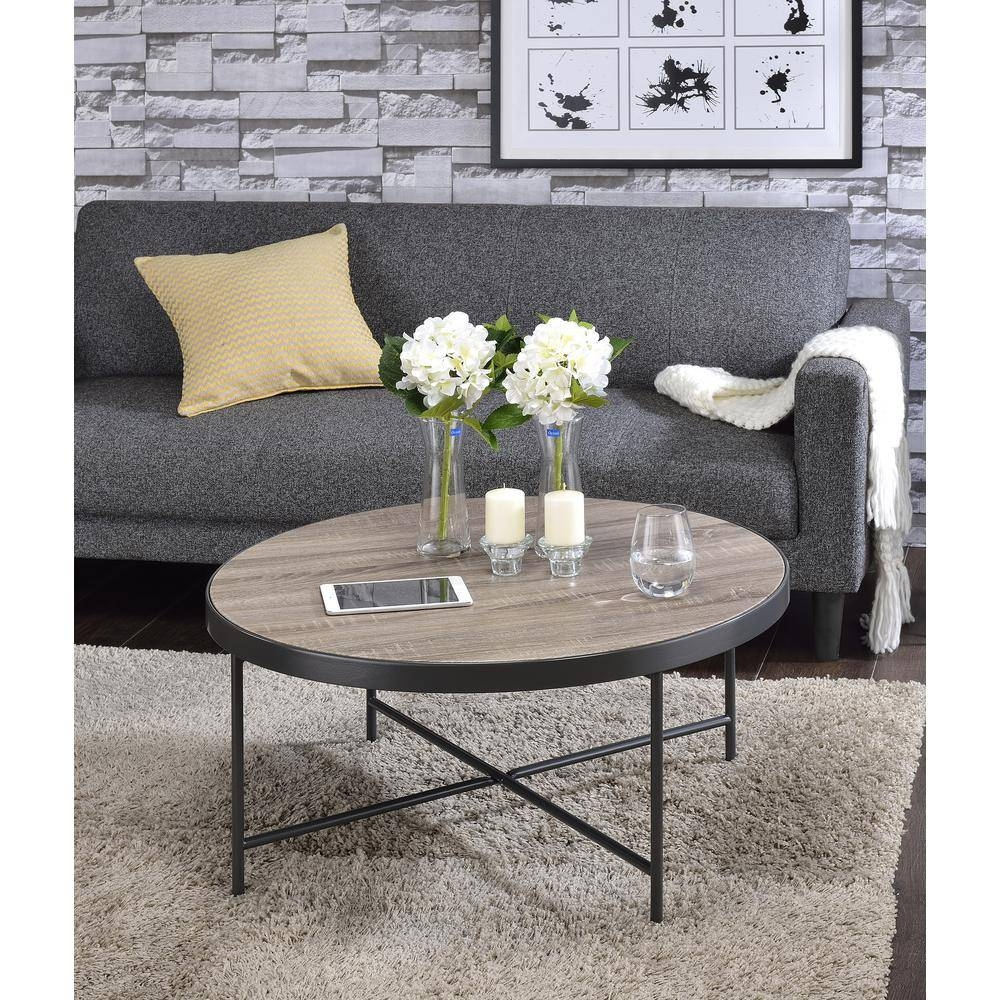 Acme Furniture Bage Weathered Gray Oak Water Resistant Coffee regarding Grey Coffee Tables (Image 1 of 30)