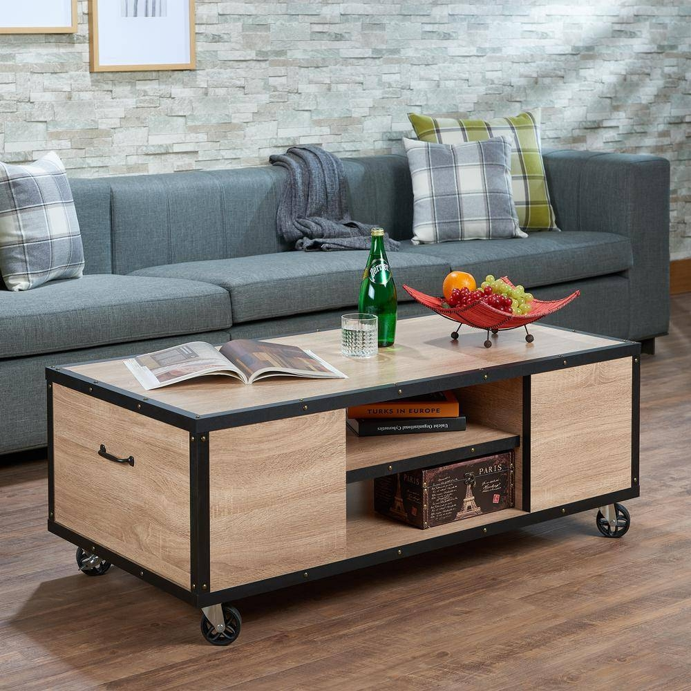 Acme Furniture Bemis Weathered Light Oak Mobile Storage Coffee Intended For Storage Coffee Tables (View 1 of 30)