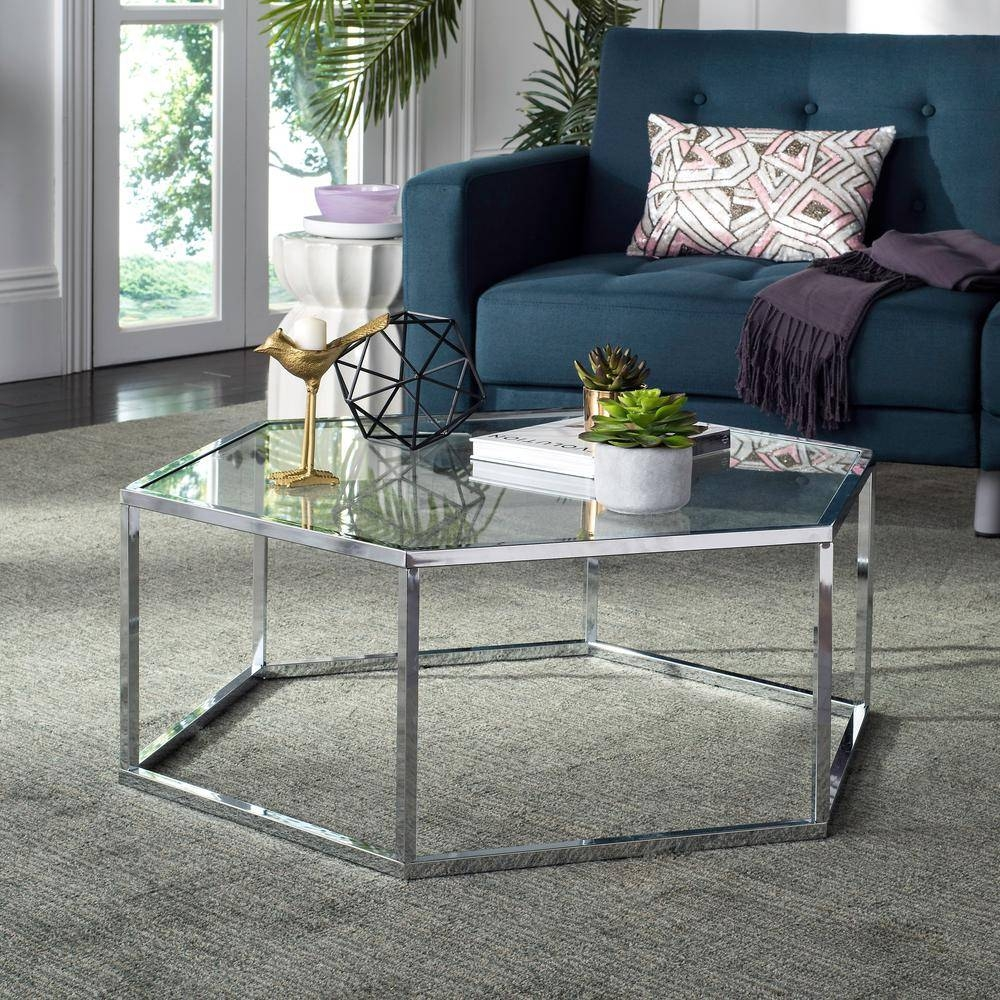 Acme Furniture Perjan Clear Glass And Antique Brass Coffee Table in Mercury Glass Coffee Tables (Image 3 of 30)