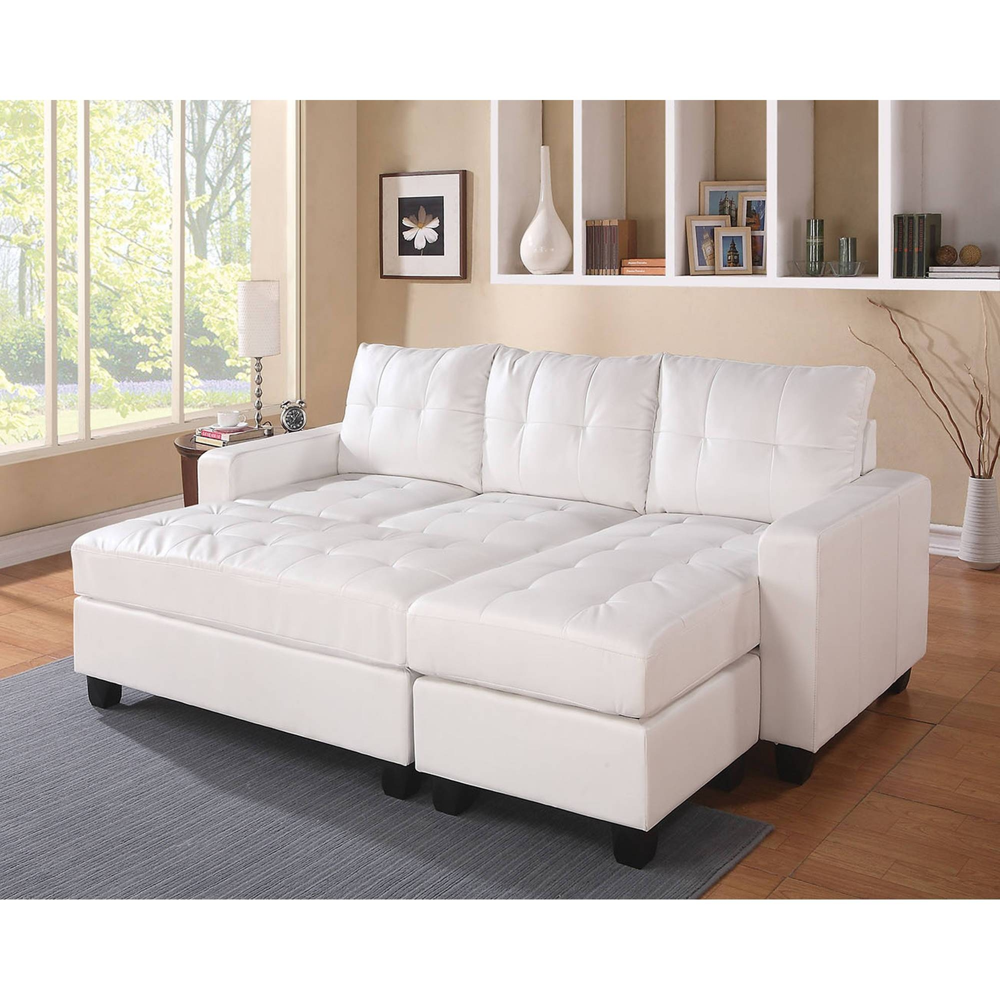 Acme Lyssa Reversible Chaise Sectional And Ottoman, Bonded Leather regarding Sofa With Chaise And Ottoman (Image 3 of 30)