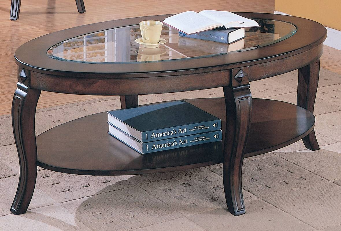Acme Riley Oval Glass Top Coffee Table In Walnut 00450 Pertaining To Coffee Tables With Oval Shape (View 1 of 30)