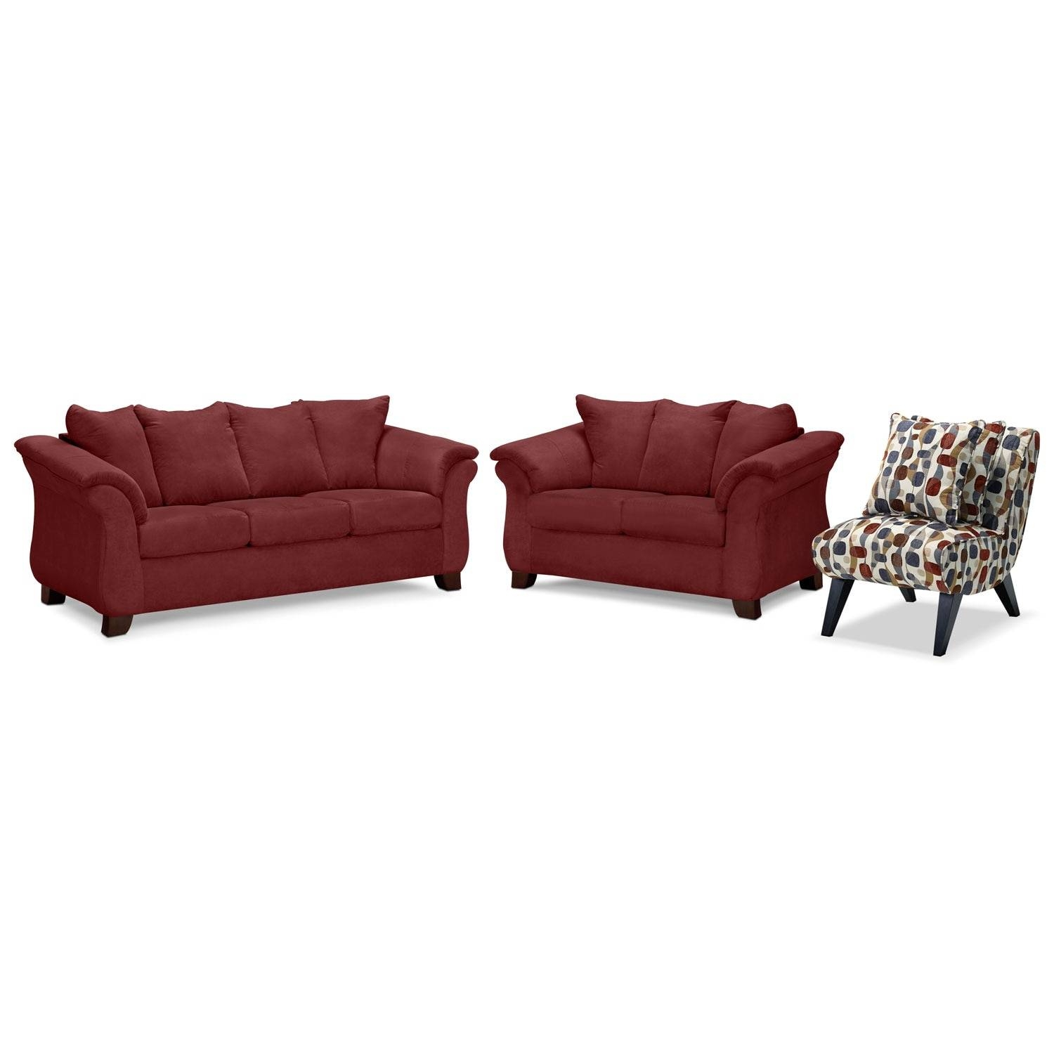 Adrian Sofa, Loveseat And Accent Chair Set - Red | Value City regarding Sofa and Accent Chair Set (Image 4 of 30)