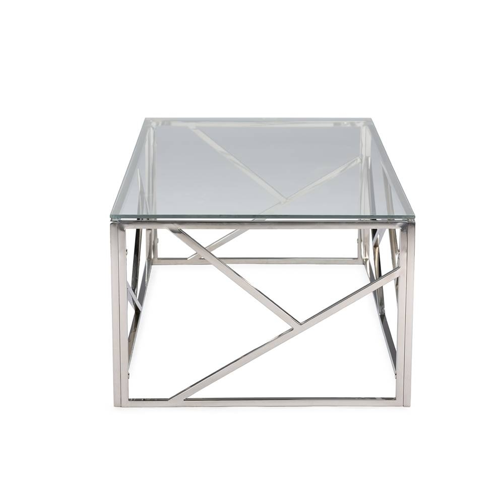 Aero Chrome Glass Coffee Table | Modern Furniture • Brickell in Chrome And Glass Coffee Tables (Image 3 of 30)
