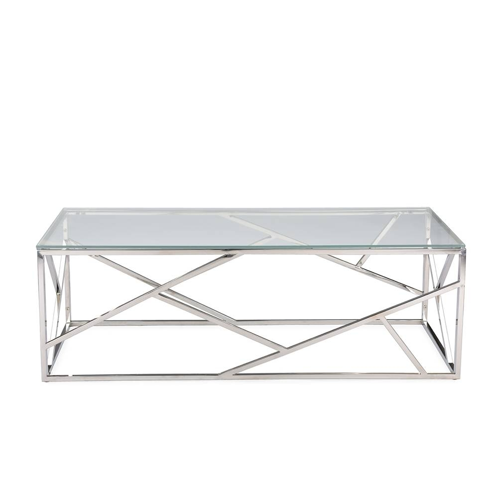 Aero Chrome Glass Coffee Table | Modern Furniture • Brickell With Chrome Glass Coffee Tables (View 1 of 30)