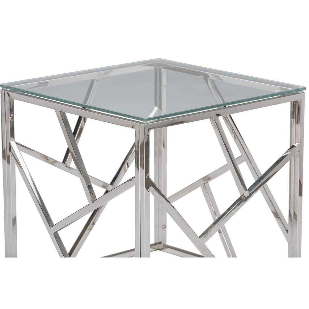 Aero Chrome Glass Side Table | Modern Furniture • Brickell Collection within Rectangle Glass Chrome Coffee Tables (Image 3 of 30)