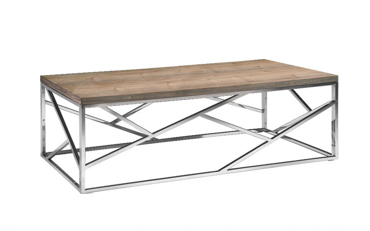 Aero Chrome Wood Coffee Table | Modern Furniture • Brickell Collection Throughout Chrome And Wood Coffee Tables (View 3 of 30)