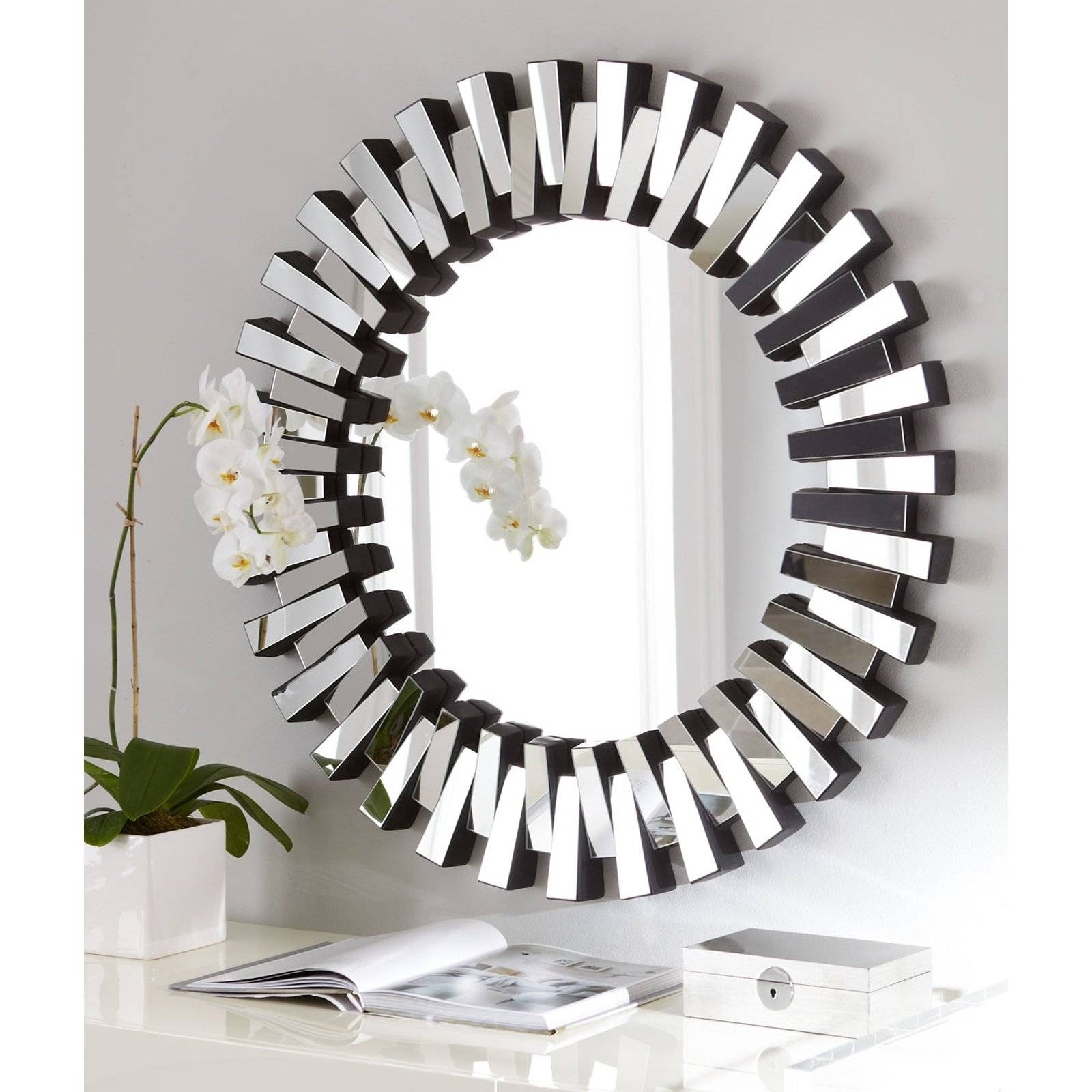 Afina Modern Luxe Round Wall Mirror - 36 In. | Hayneedle pertaining to Designer Round Mirrors (Image 5 of 25)