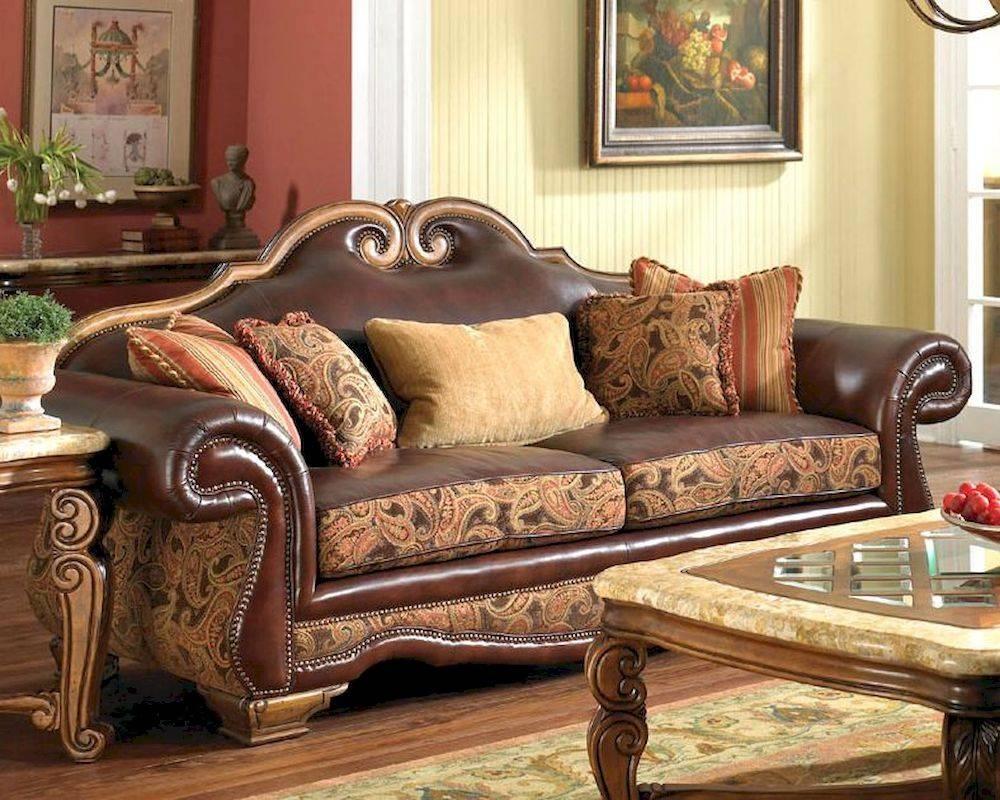 Aico Leather / Fabric High Back Sofa Tuscano Ai-34915-Brick-26 regarding Brick Sofas (Image 3 of 30)