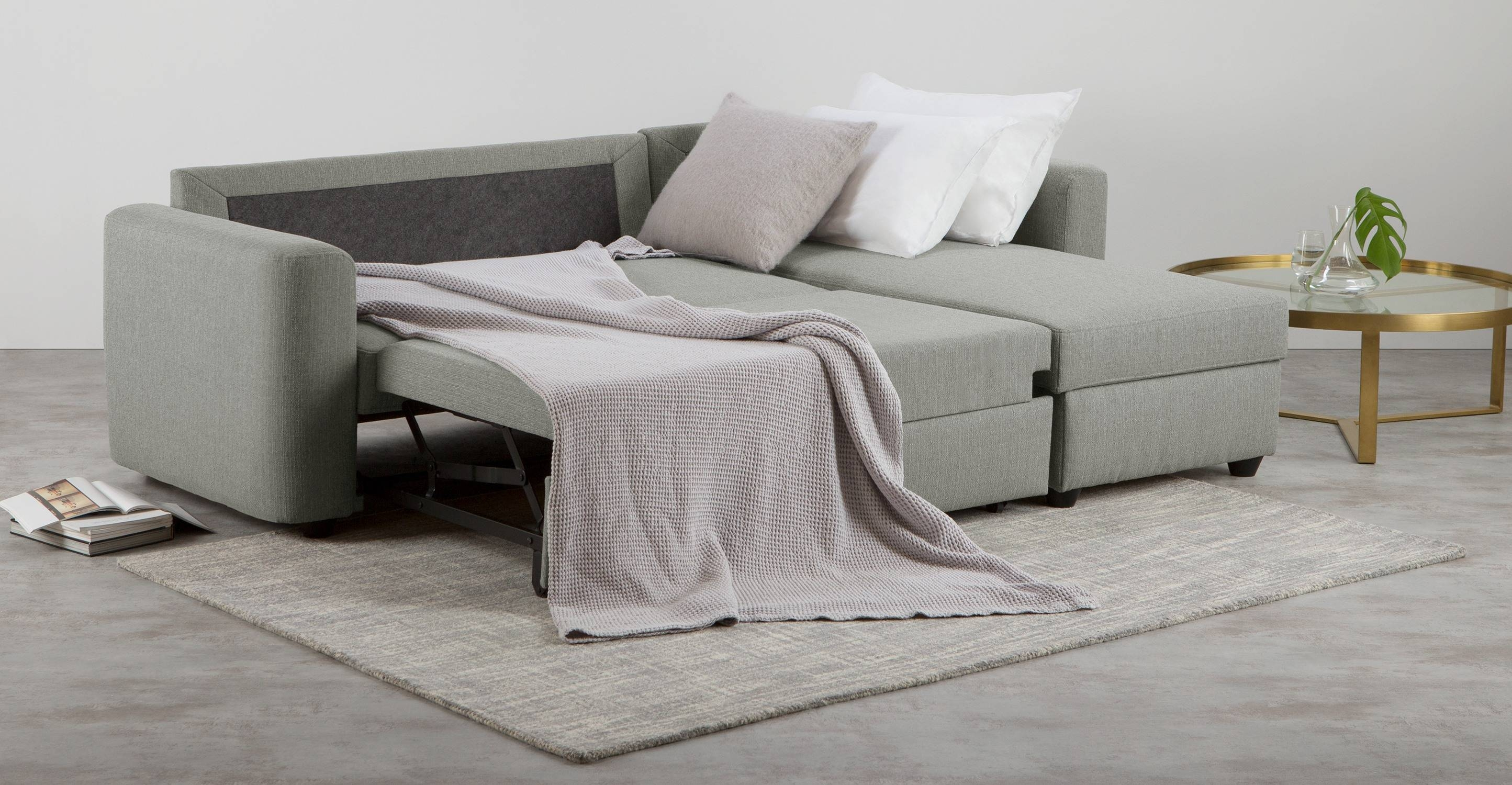 Aidian Corner Storage Sofa Bed, Silver Grey | Made in Sofa Beds With Storages (Image 1 of 30)