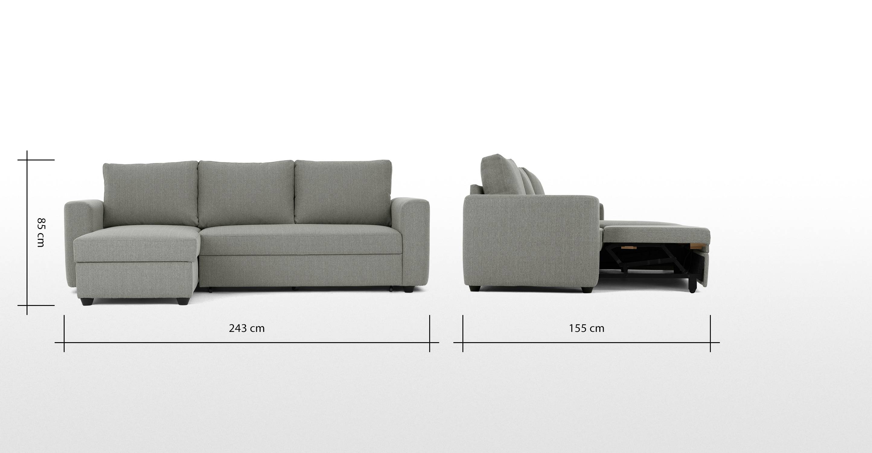 Aidian Corner Storage Sofa Bed, Silver Grey | Made regarding Sofa Beds With Storages (Image 2 of 30)