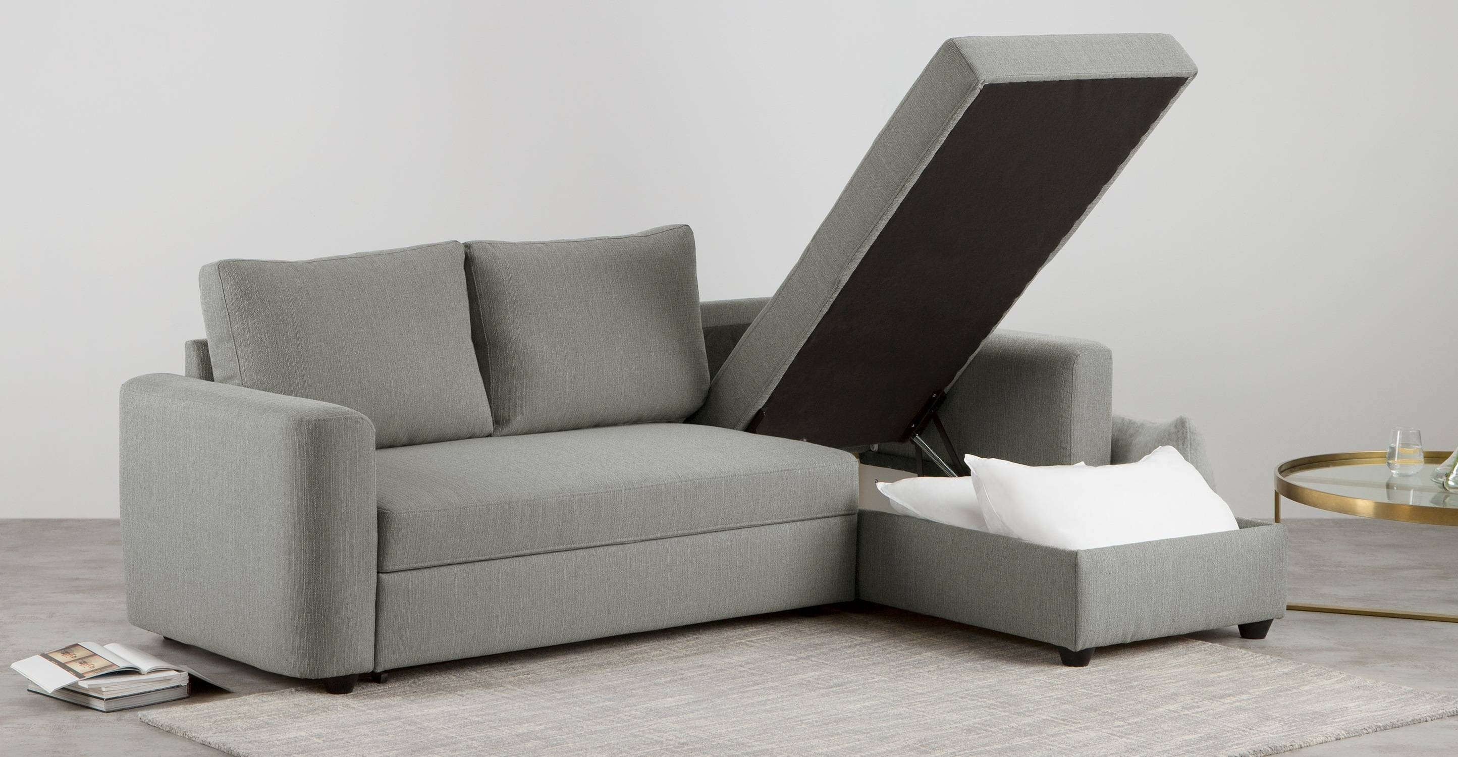Aidian Corner Storage Sofa Bed, Silver Grey | Made with Sofa Beds With Storages (Image 3 of 30)