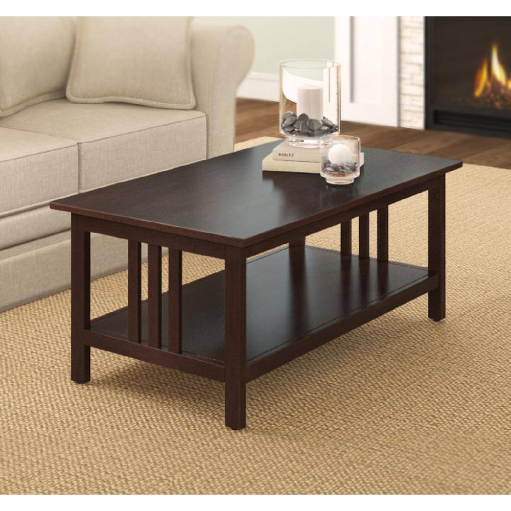 Alaterre Furniture Espresso Coffee Table-Amia11P0 - The Home Depot intended for Espresso Coffee Tables (Image 3 of 30)