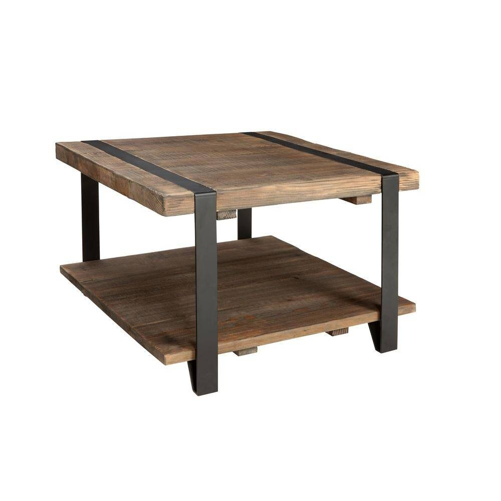 Alaterre Furniture Modesto Rustic Natural Storage Coffee Table with regard to Square Coffee Tables With Storage Cubes (Image 2 of 31)