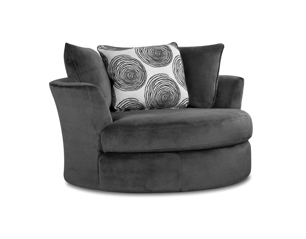 Alcott Hill Leesburg Swivel Barrel Chair & Reviews | Wayfair pertaining to Cuddler Swivel Sofa Chairs (Image 3 of 30)