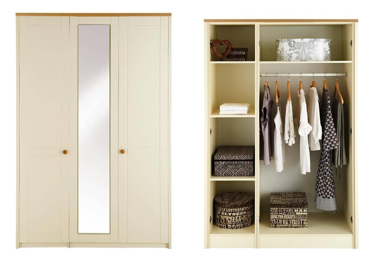 Alderley Cream Ready Assembled And Partly Assembled Bedroom in Three Door Mirrored Wardrobes (Image 1 of 15)