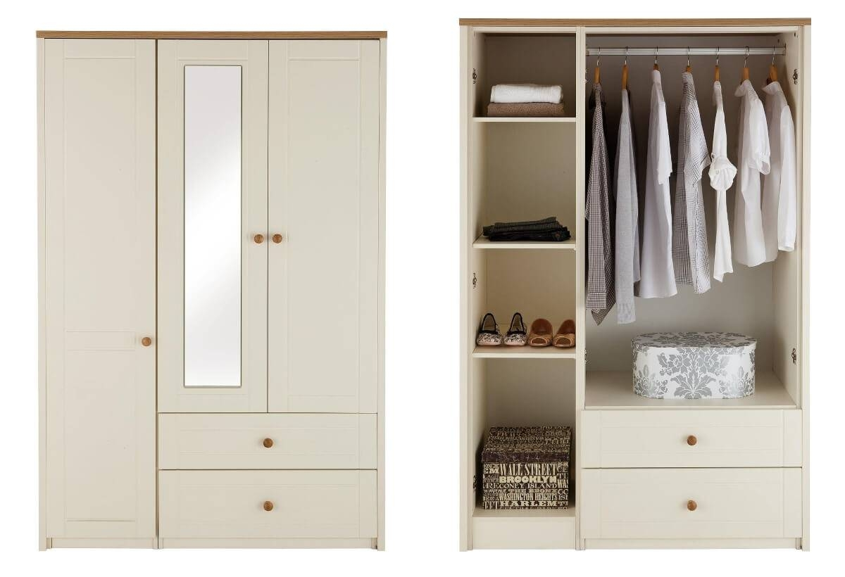 Alderley Cream Ready Assembled And Partly Assembled Bedroom throughout 3 Door Wardrobe With Drawers And Shelves (Image 2 of 30)
