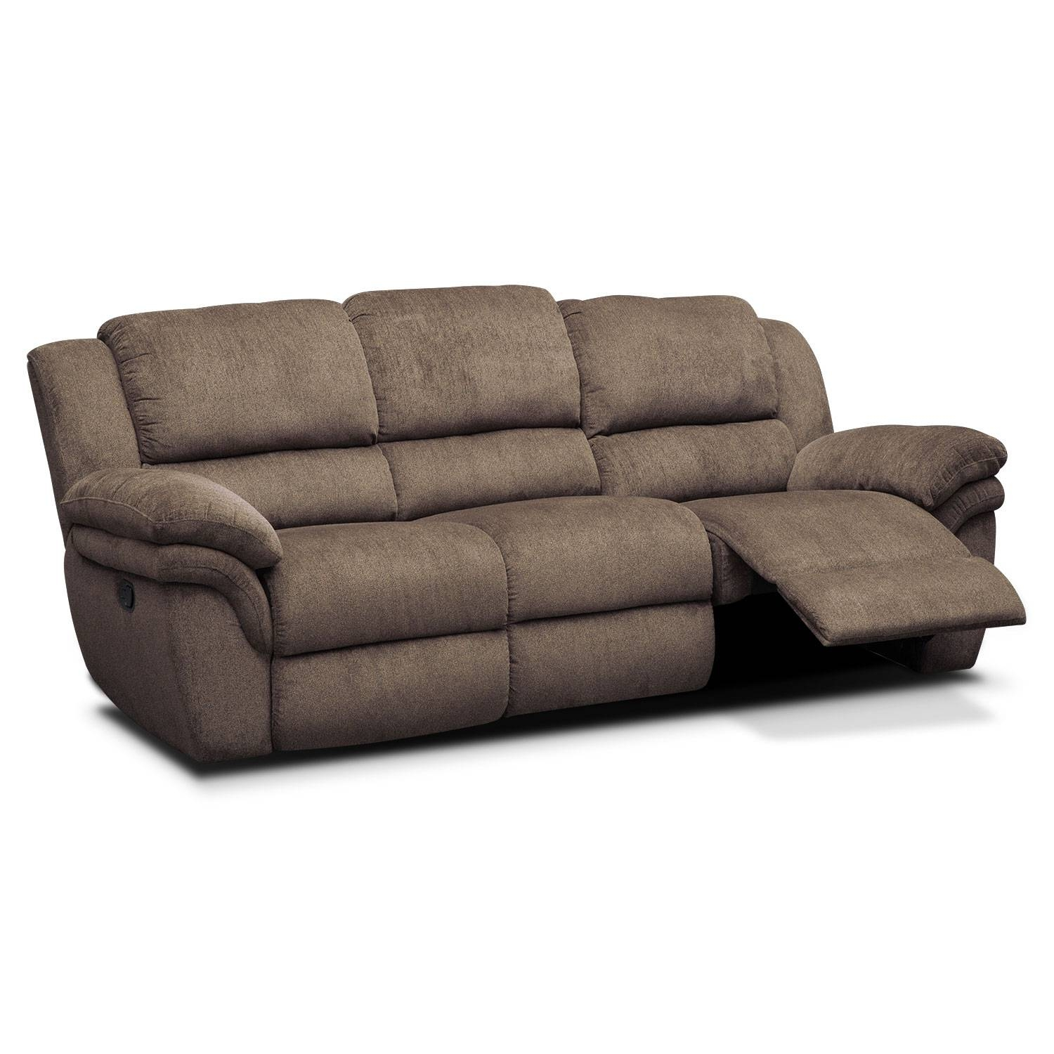 Aldo Manual Reclining Sofa - Mocha | American Signature Furniture with Recliner Sofa Chairs (Image 2 of 30)