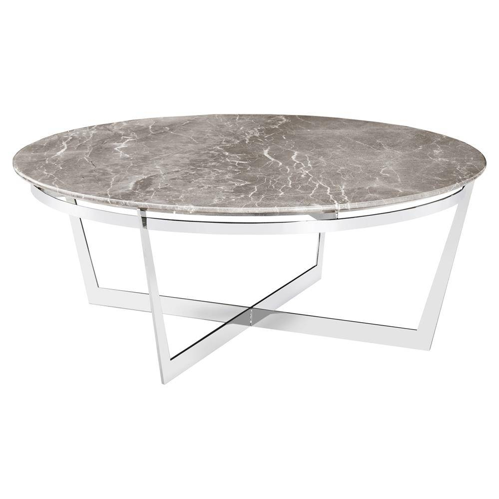 Alexys Grey Marble Round Steel Coffee Table | Kathy Kuo Home with regard to Round Steel Coffee Tables (Image 1 of 30)