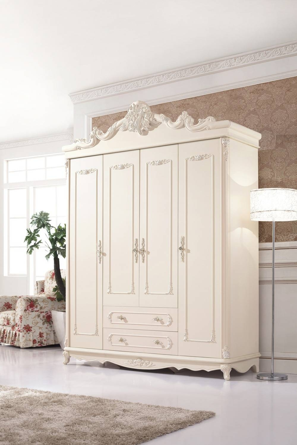 Aliexpress : Buy China New Design Popular Solid Wood Oak with Cheap White Wardrobes Sets (Image 1 of 15)