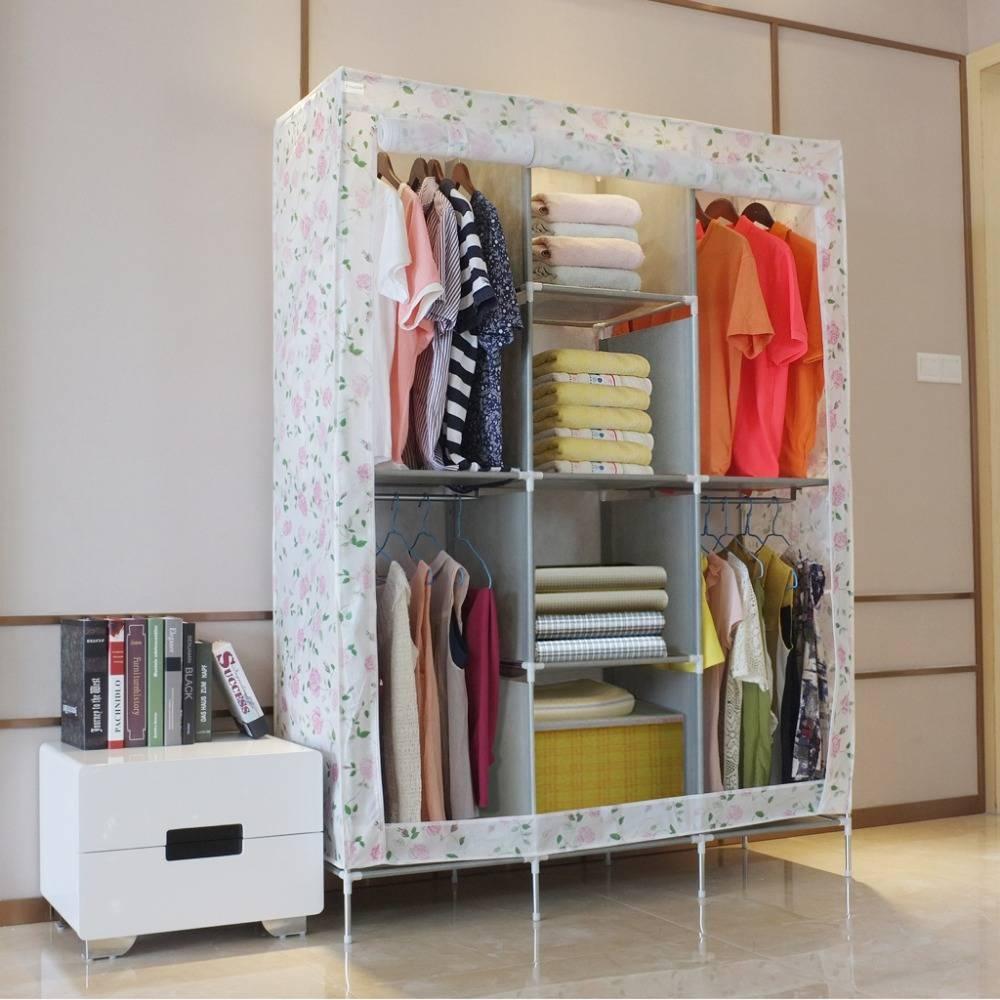 Aliexpress : Buy Finether Double Modular Metal Framed Fabric In Double Rail Wardrobes (View 13 of 30)