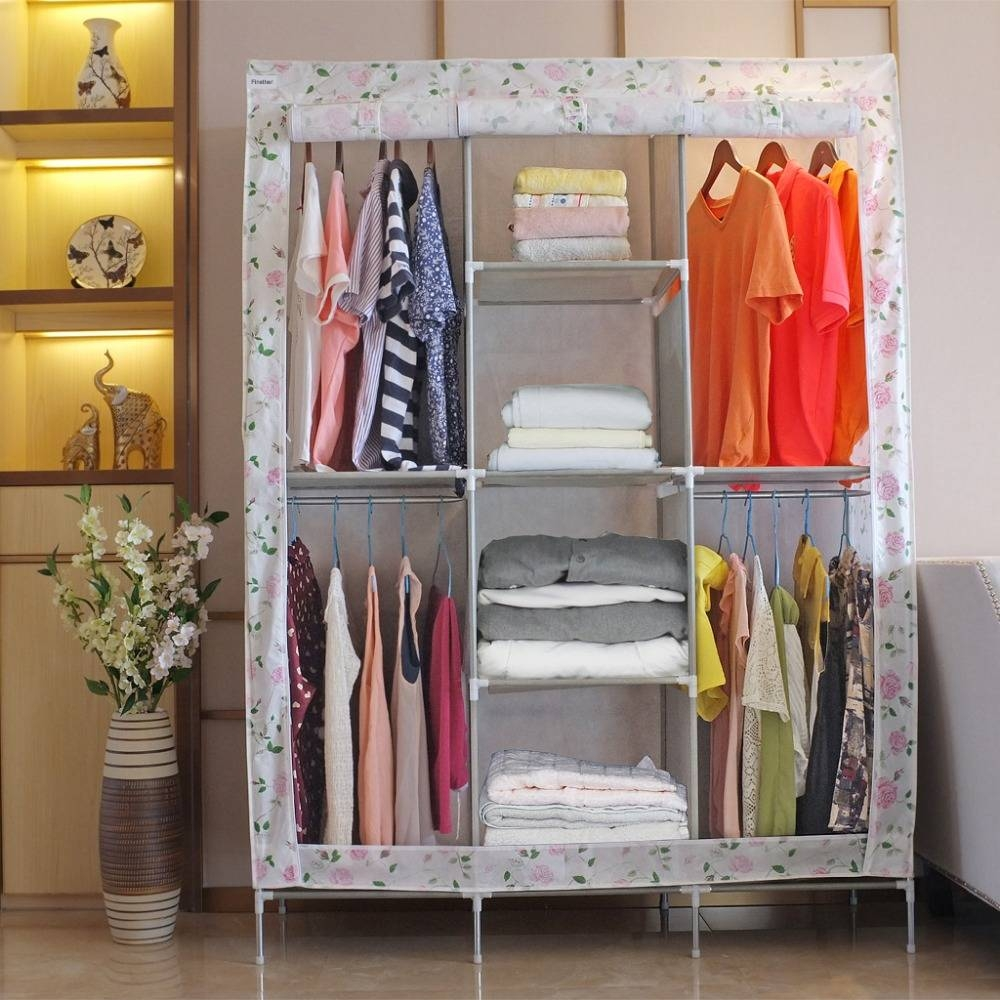 Aliexpress : Buy Finether Double Modular Metal Framed Fabric intended for Double Black Covered Tidy Rail Wardrobes (Image 3 of 30)