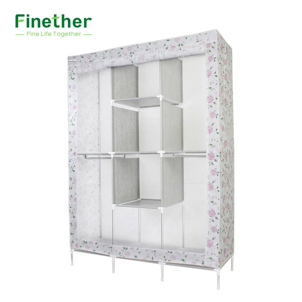 Aliexpress : Buy Finether Double Modular Metal Framed Fabric Regarding Double Rail Wardrobes (View 25 of 30)