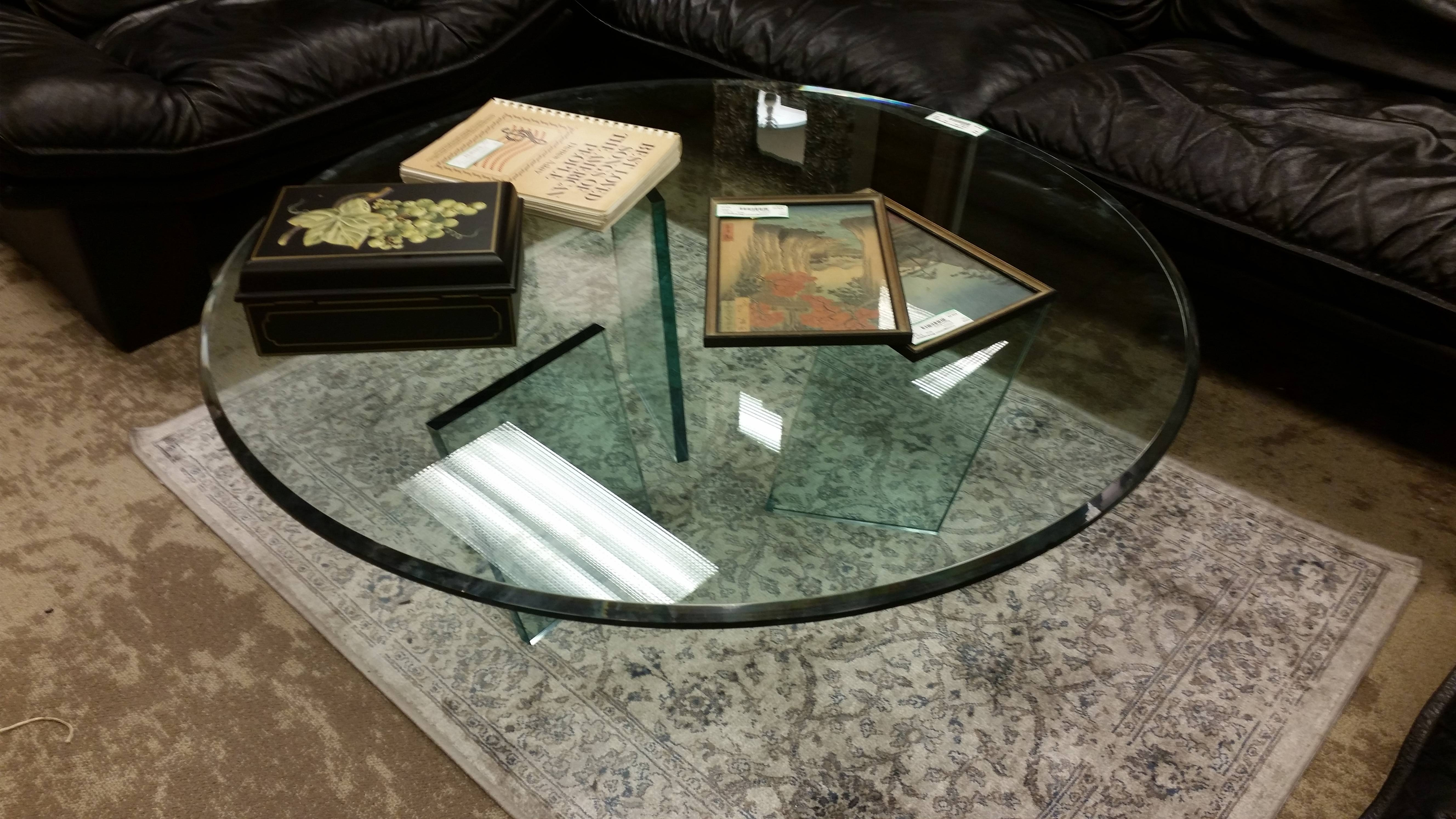 All Glass Coffee Table W/ 3 Legs (Part Of Set) – 42″diameter intended for All Glass Coffee Tables (Image 2 of 30)
