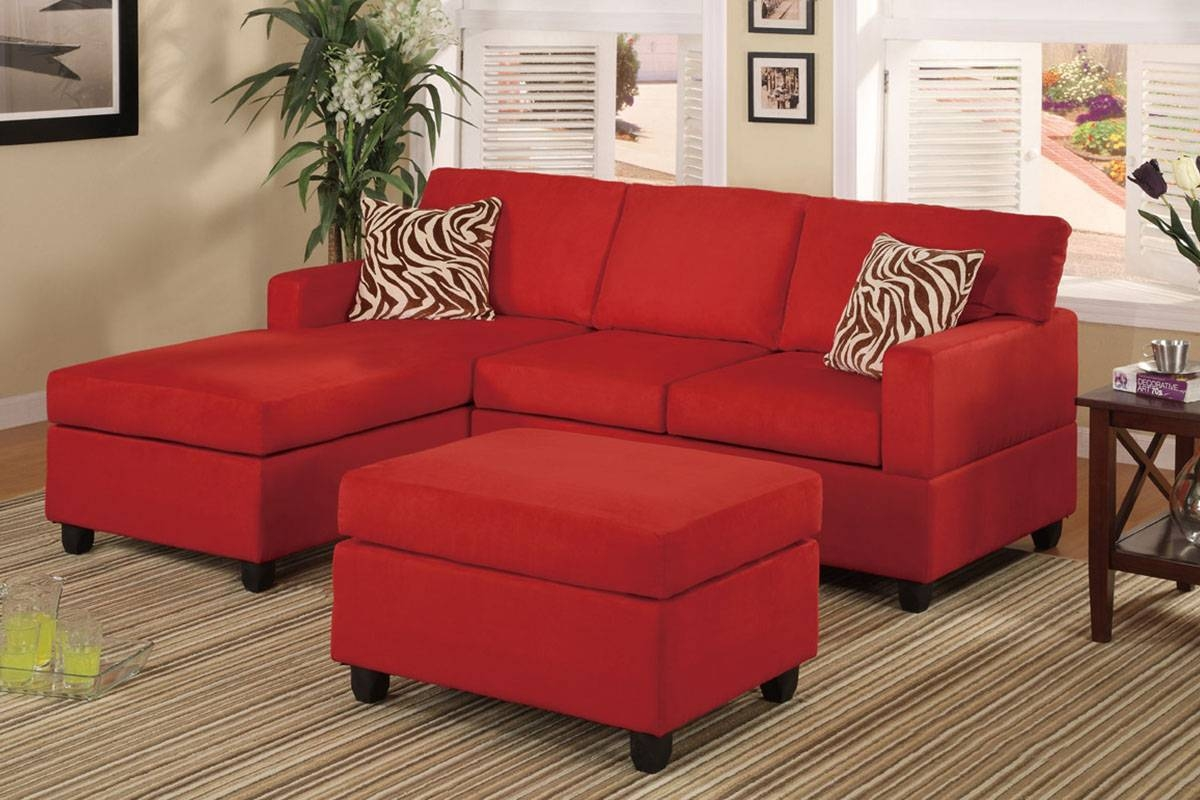 All-In-One Microfiber Plush Sectional Sofa With Ottoman - Red pertaining to Red Microfiber Sectional Sofas (Image 1 of 30)