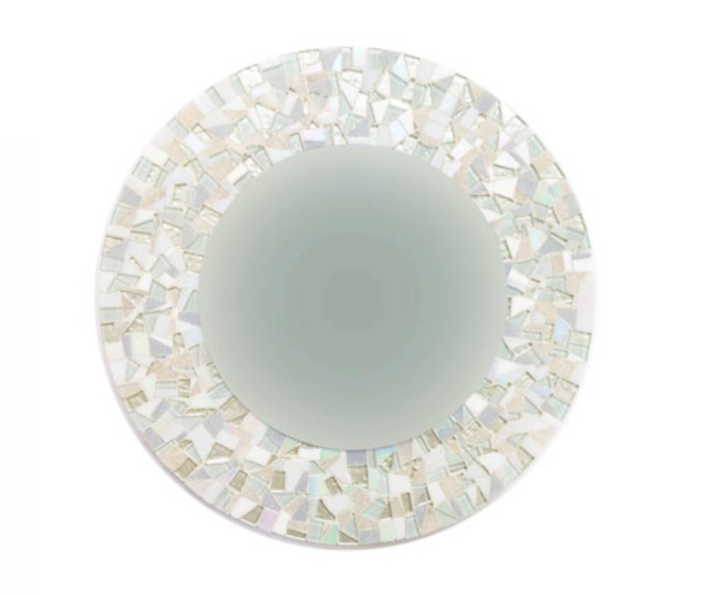 All White Mosaic Wall Mirror - : intended for Mosaic Wall Mirrors (Image 2 of 25)