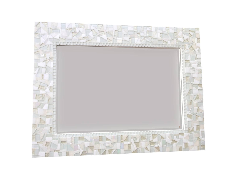 All White Wall Mirror Large Mosaic Mirror Neutral White Home for Mosaic Wall Mirrors (Image 3 of 25)