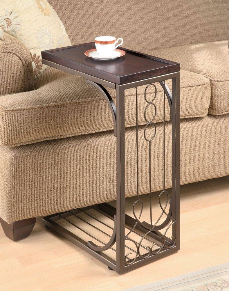 Alluring Snack Table With Dark Wooden Table Top Combined Iron regarding Sofa Snack Tray Table (Image 1 of 30)