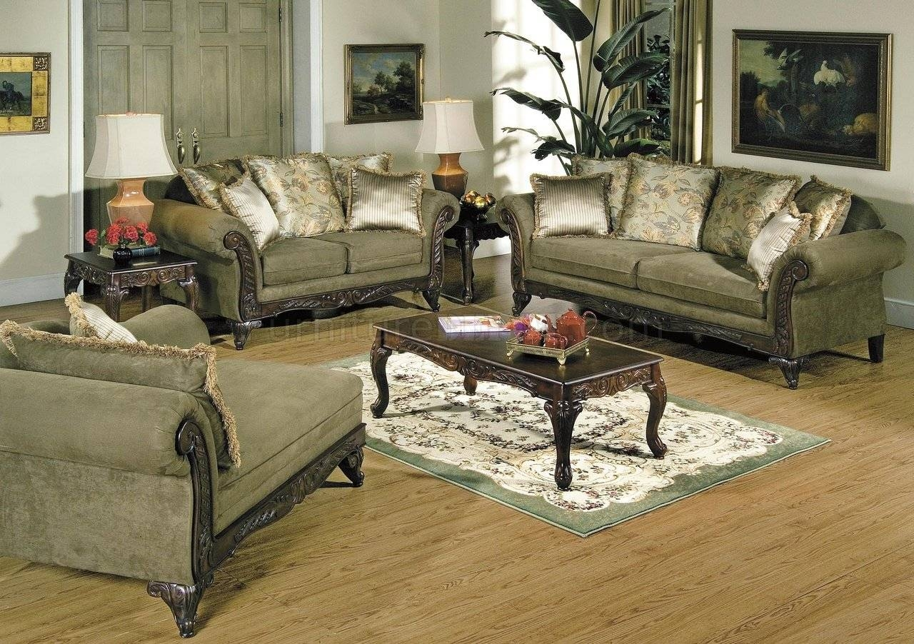 Alpine Microfiber Traditional Living Room Sofa W/wooden Accents regarding Traditional Sofas for Sale (Image 1 of 30)